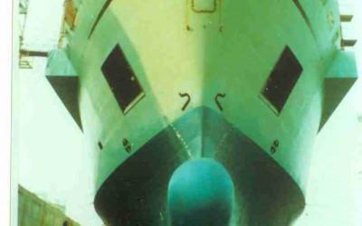 bow in drydock