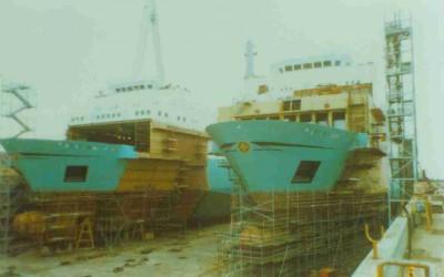 sister ships in drydock